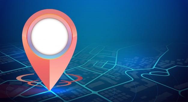 A maquete de um gps no mapa da cidade e espaço livre Vetor Premium