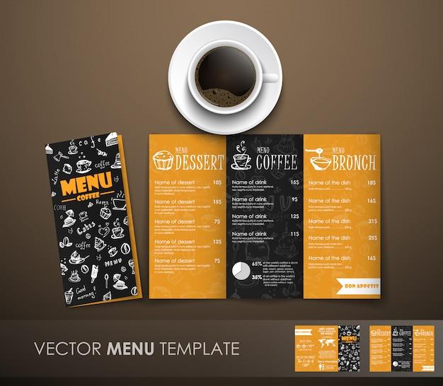 A maquete do menu de café com uma xícara de café Vetor Premium