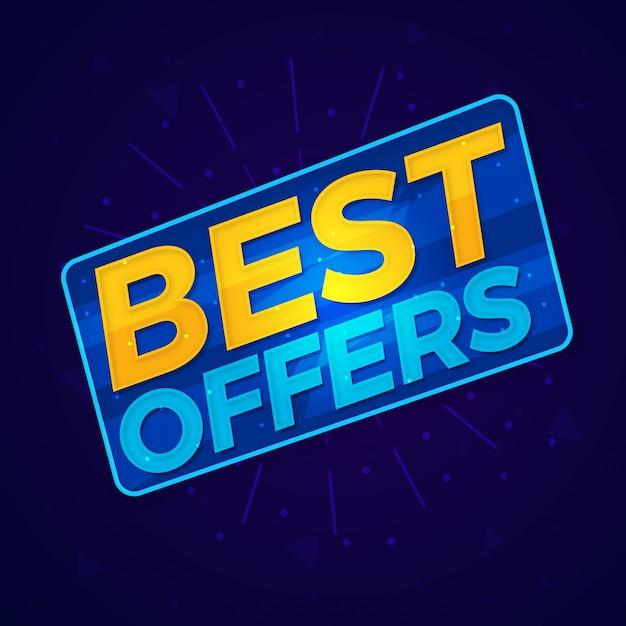 A melhor etiqueta de venda de compras de ofertas Vetor Premium