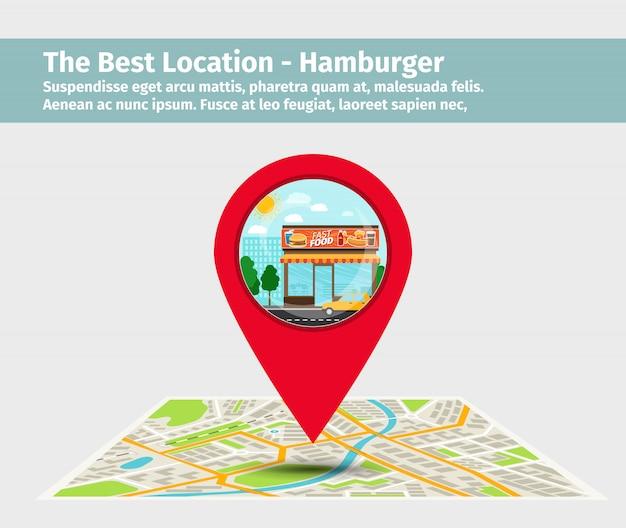 A melhor localização de hambúrguer Vetor Premium