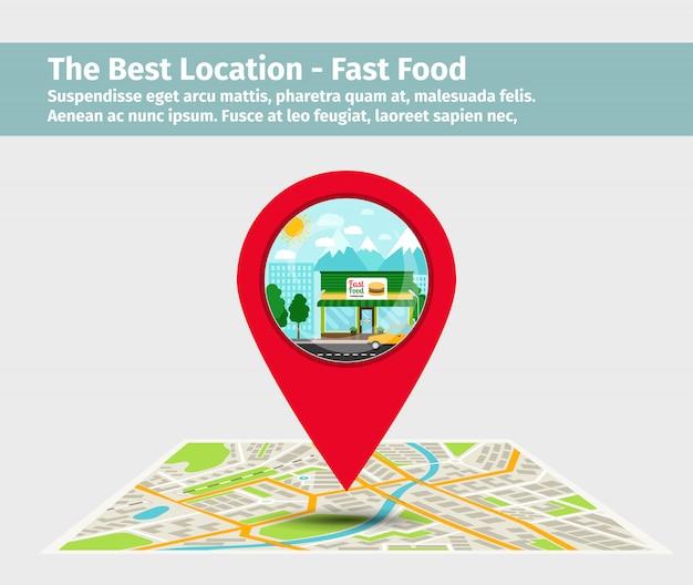 A melhor localização fast food Vetor Premium