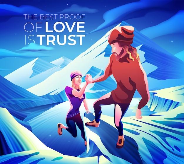 A melhor prova de amor é a confiança Vetor Premium