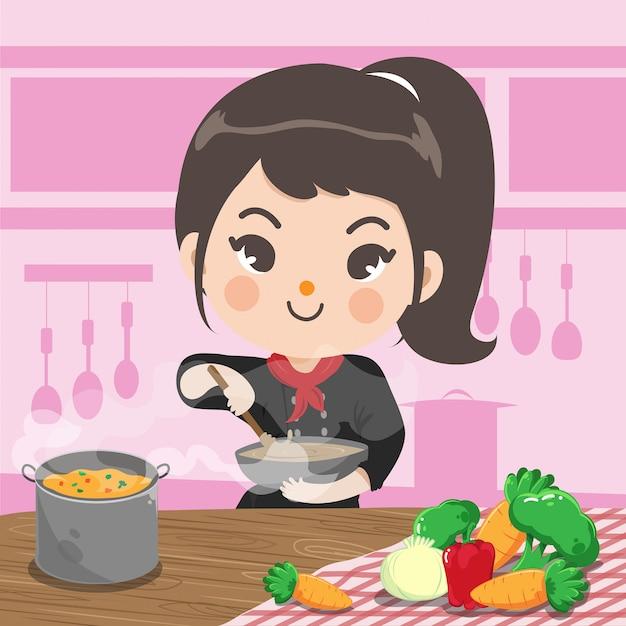 A menina do cozinheiro chefe está cozinhando com um amor feliz em sua cozinha. Vetor Premium