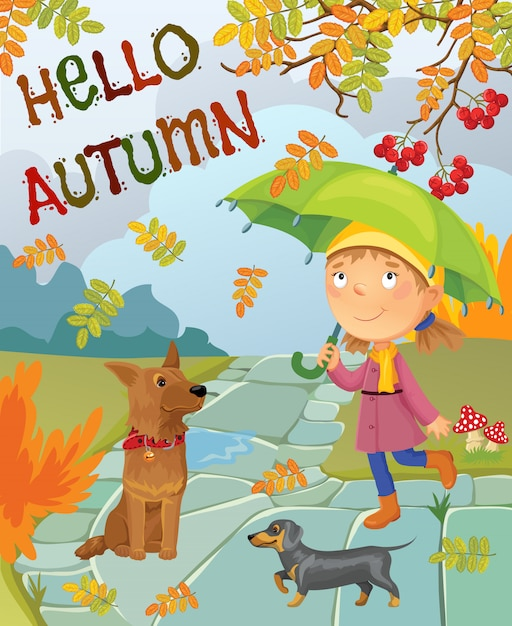 A menina dos desenhos animados sob um guarda-chuva anda com cães. Vetor Premium