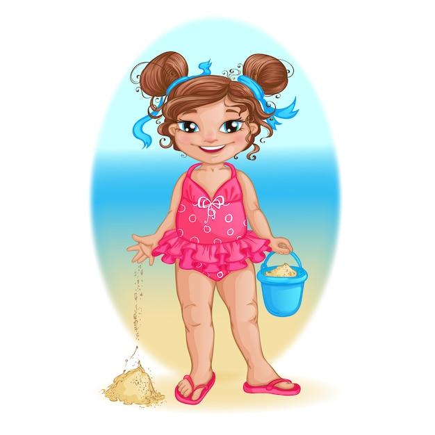 A menina no roupa de banho cor-de-rosa joga na praia com uma cubeta. Vetor Premium