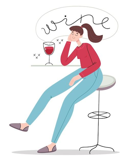 A menina pensou na garrafa de vinho. degustação de vinhos. Vetor Premium