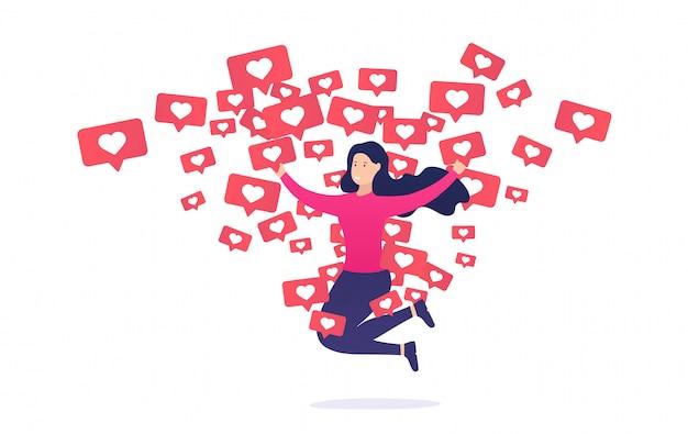 A menina se alegra e pula de notificações semelhantes. dependência de internet para outros usuários e sua aprovação. Vetor Premium