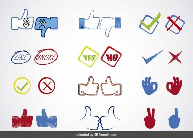 A mídia social sim ou não cobrança ícones Vetor grátis