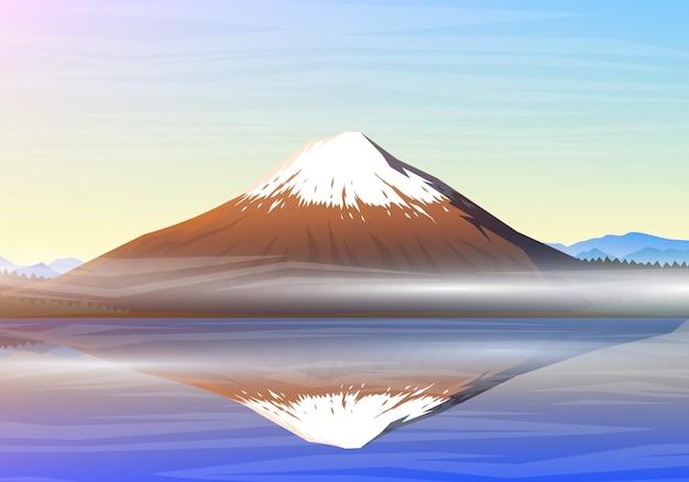 A montanha fuji, vista panorâmica da manhã com reflexão no lago kawaguchiko, picos, ajardina cedo em uma luz do dia. viajar ou acampar, escalar Vetor Premium