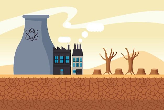 A mudança climática afeta a paisagem da cidade com uma ilustração da fábrica da chaminé Vetor Premium
