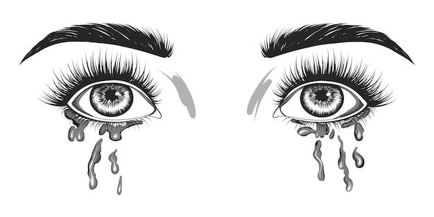A mulher está chorando. Vetor Premium