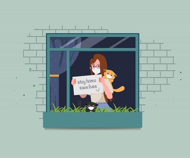 A mulher fica em casa e salva vidas para evitar a disseminação do coronavírus. pare com a covid-19. Vetor Premium