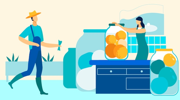 A mulher gira a tampa no banco pode frutas do jardim. Vetor Premium