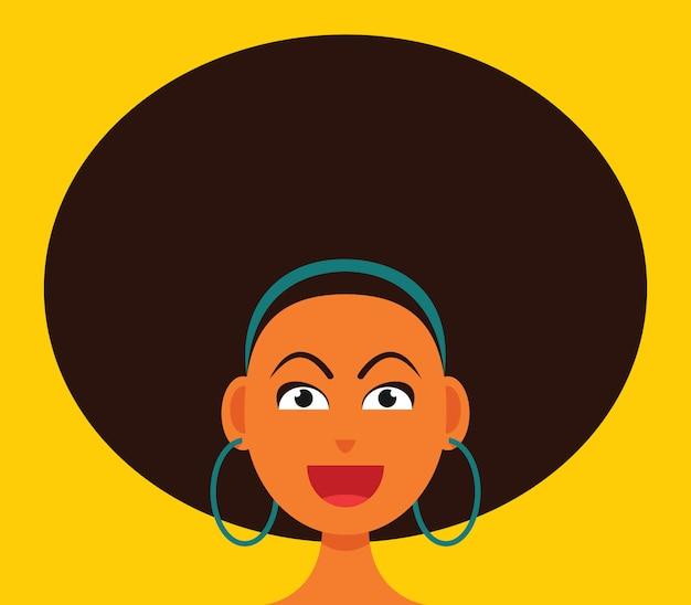 A mulher sorridente rosto com cabelo grande afro. Vetor Premium