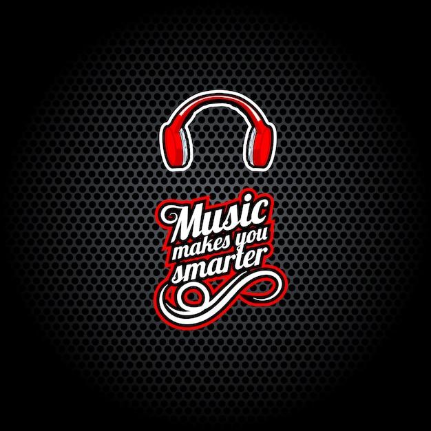 A música torna-te mais inteligente, palavras com auscultadores, Vetor Premium