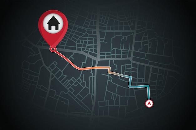 A navegação por gps gera do seu local para a casa Vetor Premium
