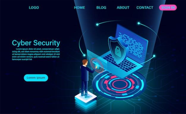 A página inicial protege os dados e o conceito de proteção de privacidade e privacidade de dados Vetor Premium