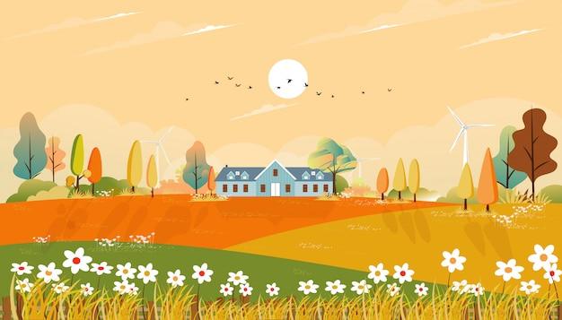 A paisagem do outono com casa e a grama da exploração agrícola aterram em colinas, folha natural no outono com campo panorâmico bonito na manhã do dia ensolarado. Vetor Premium