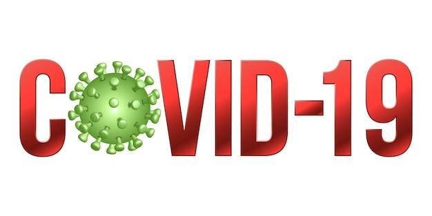 A palavra covid-19 com ícone coronavírus, 2019-ncov romance sinal ...
