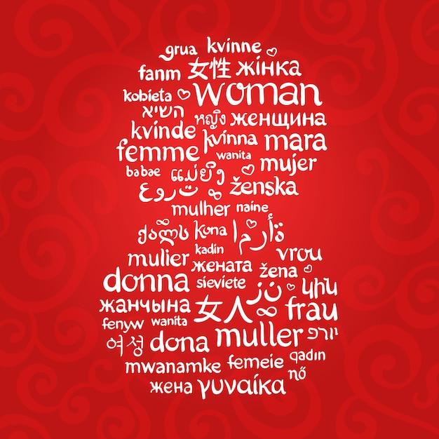 A palavra mulher Vetor Premium