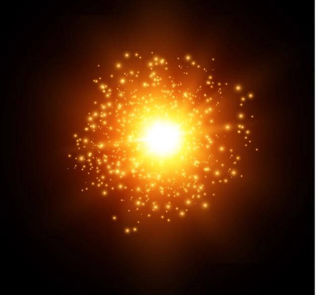 A poeira faisca e as estrelas douradas brilham com luz especial. brilha em um fundo preto. efeito de luz de natal. interior de partículas de poeira mágica cintilante arte vetorial Vetor Premium
