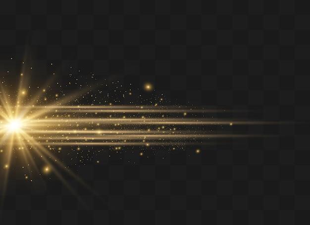 A poeira faisca e as estrelas douradas brilham com luz especial. brilha em um fundo transparente. efeito de luz de natal. interior de partículas de poeira mágica cintilante Vetor Premium
