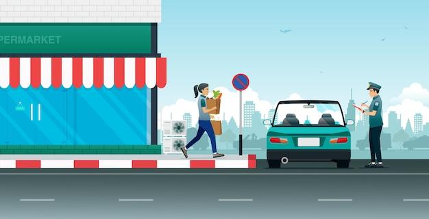 A polícia está escrevendo ordens de trânsito para carros estacionados em áreas proibidas. Vetor Premium