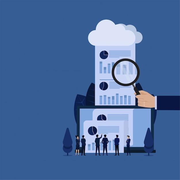 A preensão da mão do negócio amplia e relata saiu da metáfora da nuvem da revisão em linha da auditoria. Vetor Premium