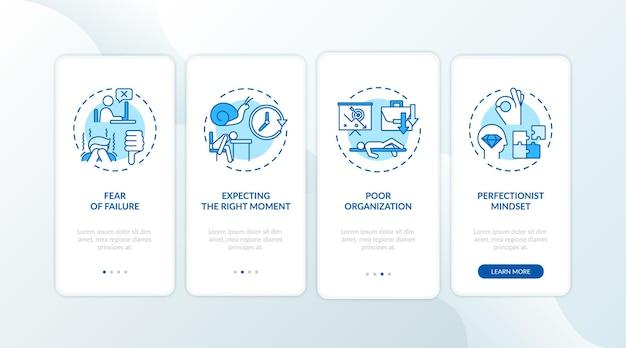 A procrastinação faz com que a tela da página do aplicativo móvel de integração com conceitos Vetor Premium