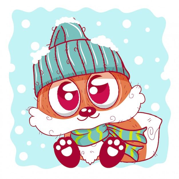A raposa bonito dos desenhos animados em um tampão de malha senta-se em uma neve Vetor Premium