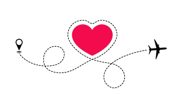 A rota do amor viaja de avião. o avião desenha linhas pontilhadas do formato do coração. adoro aventura. Vetor Premium