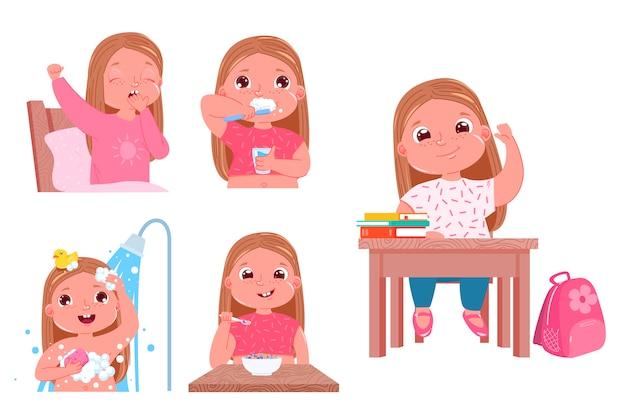 A rotina diária da criança é uma menina. voltando para a escola. Vetor grátis