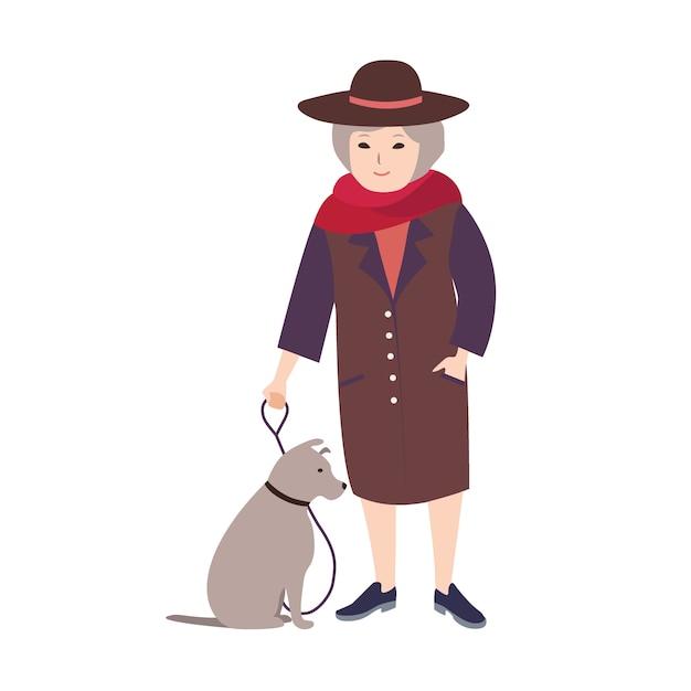 A senhora idosa de sorriso vestiu-se na roupa elegante que realiza no cão cinzento da trela que senta-se ao lado dela. personagem de desenho feminino andando com seu animal de estimação isolado no fundo branco. ilustração colorida. Vetor Premium
