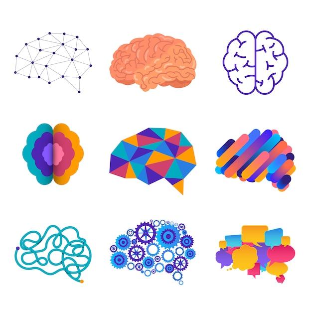 A silhueta humana vê o cérebro na cabeça, que está conectada ao cérebro. ilustrações. Vetor Premium
