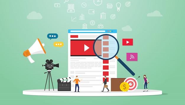 A tecnologia video em linha do conceito da busca com lupa e o negócio team a pesquisa no navegador com estilo liso moderno. Vetor Premium