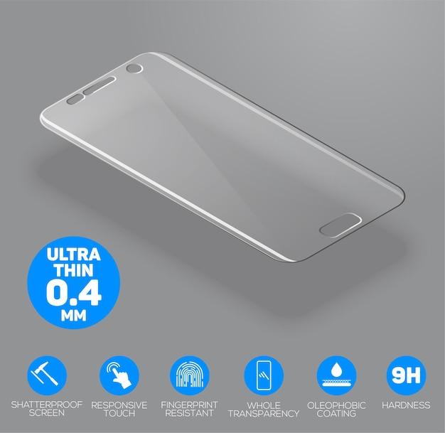 A tela protege o vidro. filme protetor de tela ou tampa de vidro isolada em fundo cinza. acessório móvel. Vetor Premium
