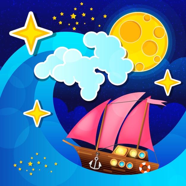 A tempestade da noite acena e enrola um navio de navigação no mar. Vetor Premium