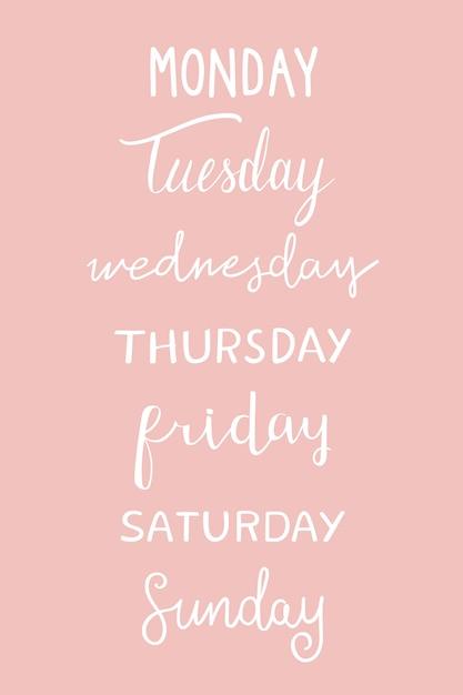 A tipografia dos dias da semana Vetor grátis