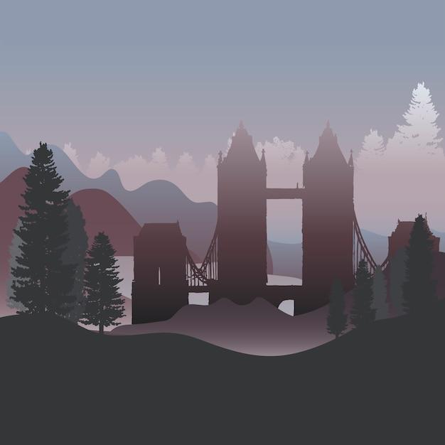 A tower bridge em um vetor da floresta Vetor grátis