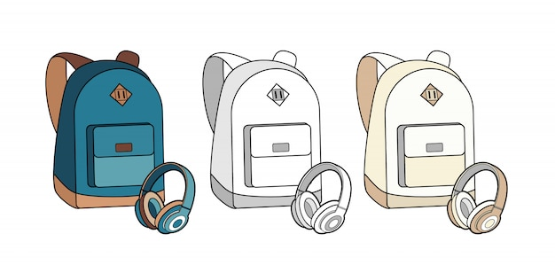 A trouxa, o saco, a mochila e os fones de ouvido vector o grupo isolado. Vetor Premium