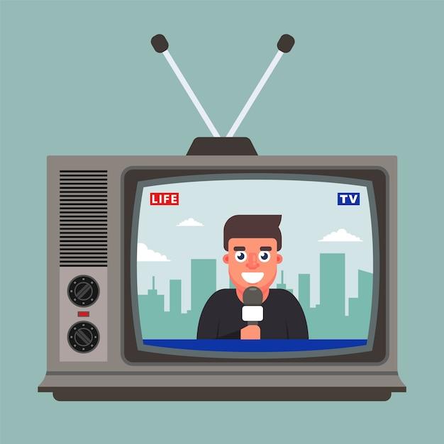 A tv antiga mostra uma reportagem ao vivo com um correspondente. ilustração plana Vetor Premium
