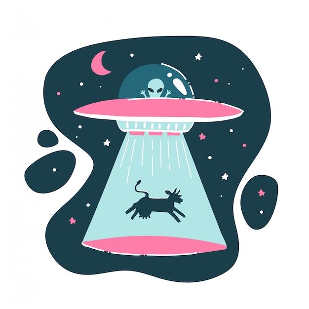 A vaca é sequestrada por um ovni. desenho engraçado, infantil, engraçado. desenho à mão. impressão alienígena isolada. ilustração plana Vetor Premium