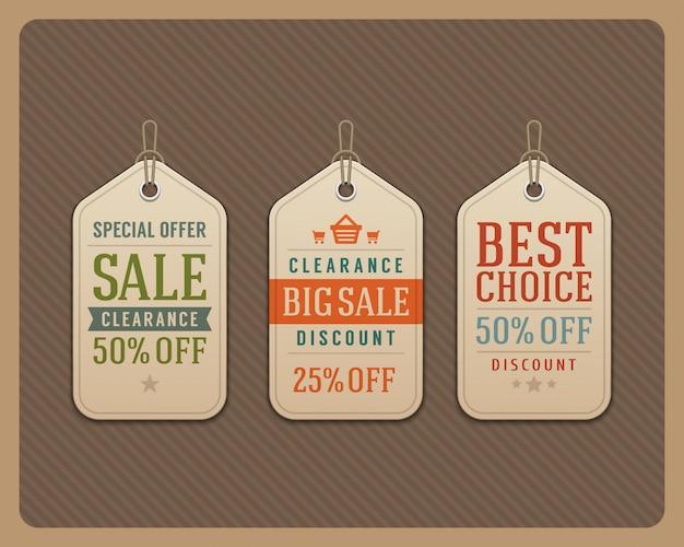 A venda etiqueta a ilustração tipográfica retro do vetor dos elementos do projeto tipográfico. Vetor Premium