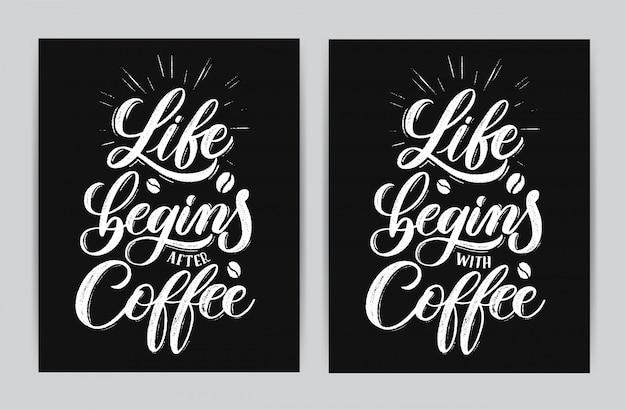 A vida começa depois do café. Vetor Premium