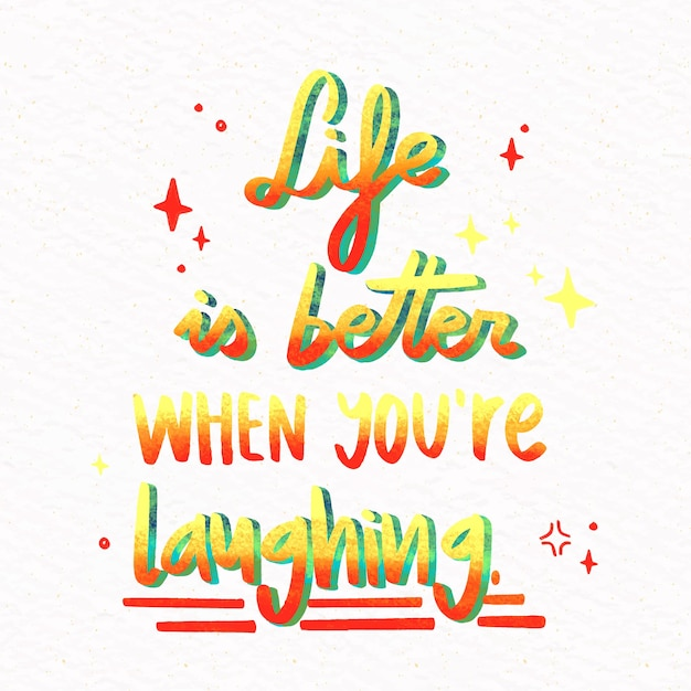 A vida é melhor quando você está feliz letras Vetor grátis