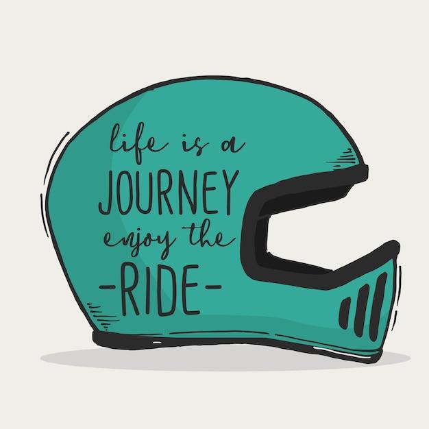 A vida é uma viagem curtir a citação de rotulação de mão tipografia de passeio Vetor Premium