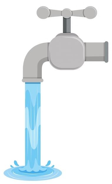 Aba de água saindo da aba Vetor grátis