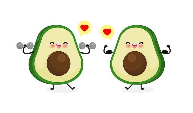Abacate feliz bonito fazendo exercícios com halteres e abacate mostra o músculo. comer alimentos saudáveis e fitness Vetor Premium