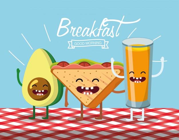 Abacate feliz com pão de triângulo e suco de laranja Vetor Premium