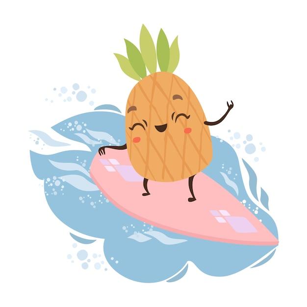 Abacaxi bonito em um surf Vetor grátis